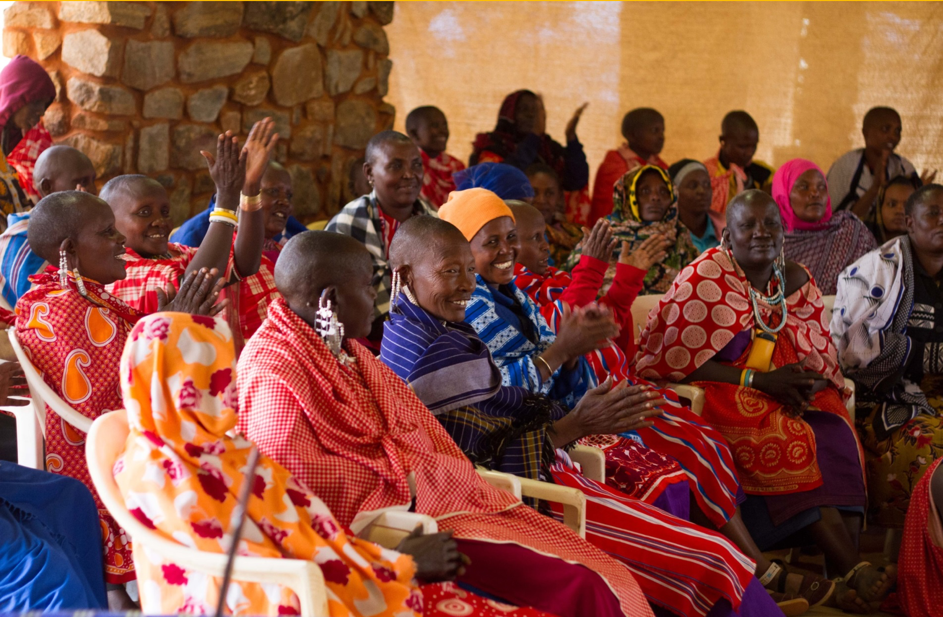 A group of Maasai women in a natural resource management seminar hosted by APW.