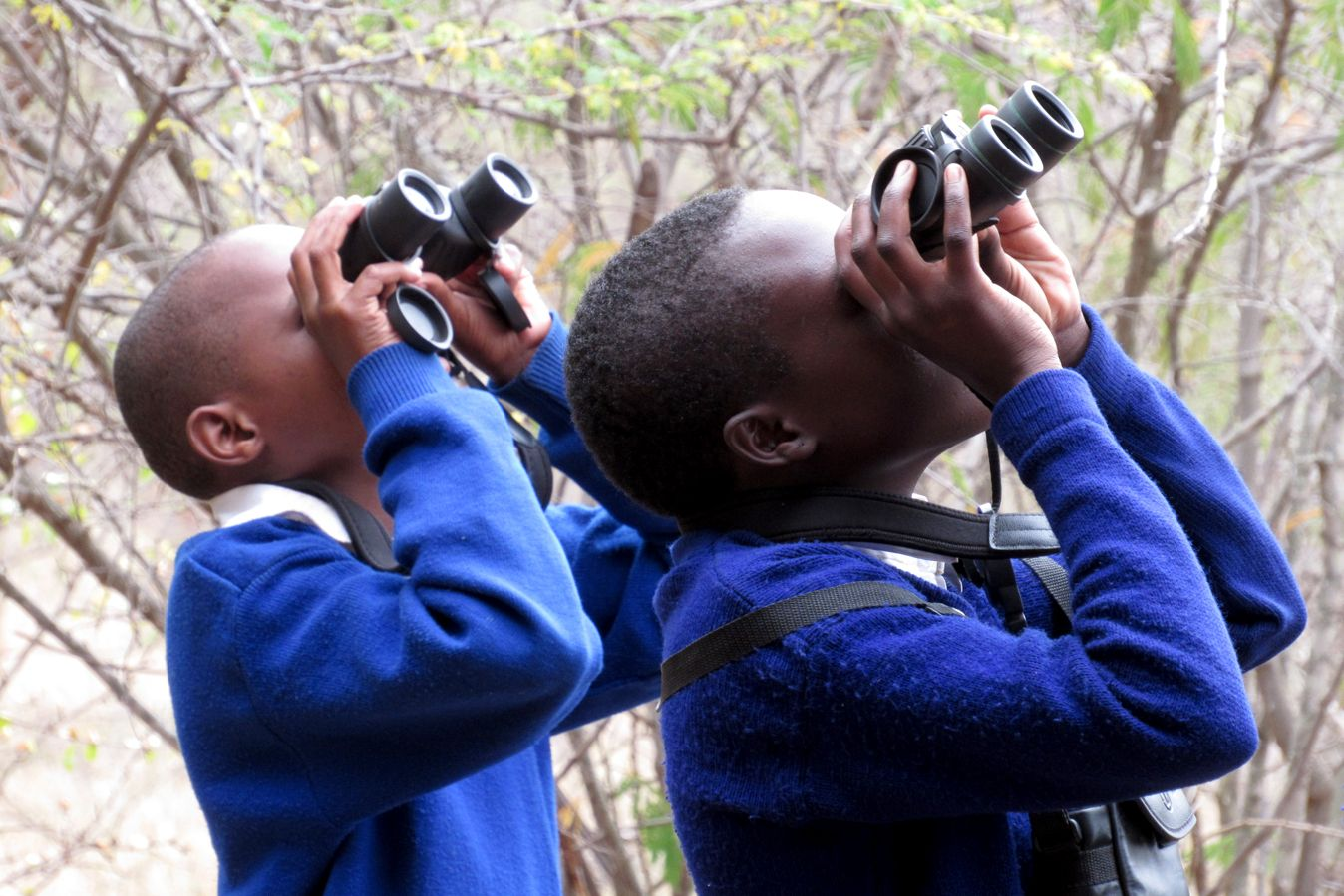 Tanzanian youth birdwatching at the Noloholo Environmental Center