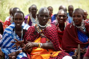 A group of Maasai women engaged in a training